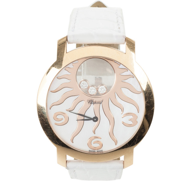 Chopard Happy Sun Rose Gold Leather Womens Wristwatch 40 MM
