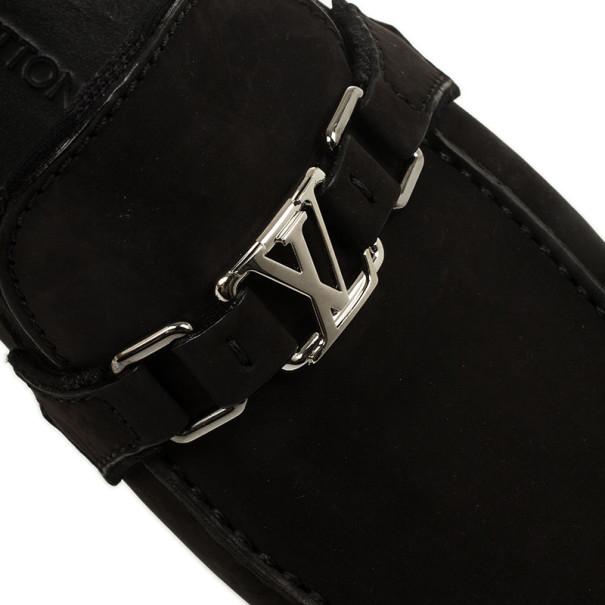 Louis Vuitton Black Suede Hockenheim Loafers Size 43.5