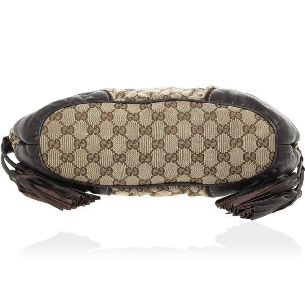 Gucci Brown Ebony GG Tribeca Medium Tote