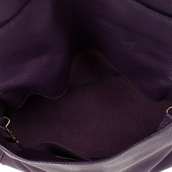 Carolina Herrera Purple Leather Minueto Flap Bag