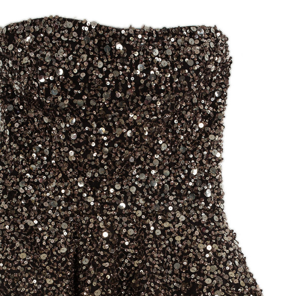 Marchesa Strapless Embellished Ball Gown S