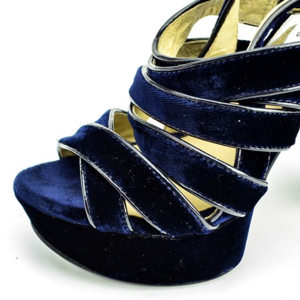 MICHAEL Michael Kors Blue Velvet Faye Platform Sandals Size 37