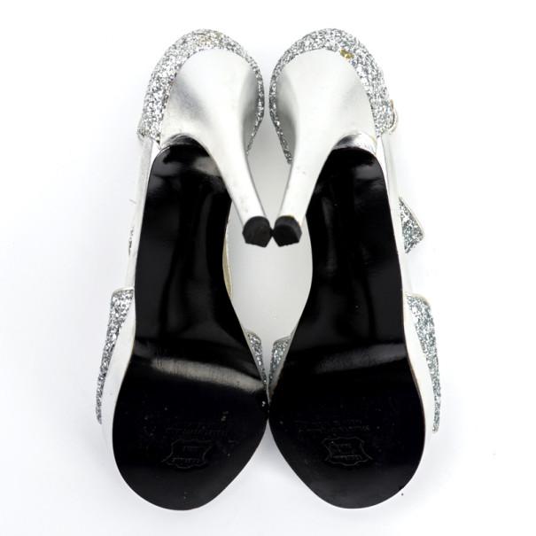 Stuart Weitzman Silver Glitter Loverly Sandals Size 37