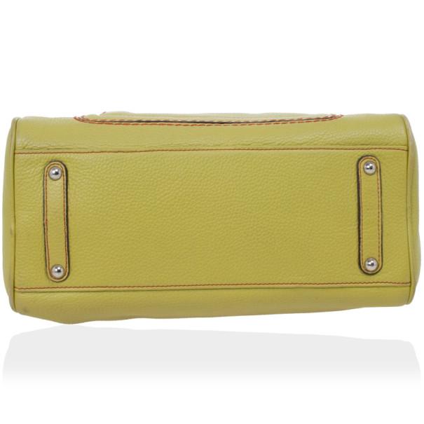 Salvatore Ferragamo Apple Green Leather Boston Bag