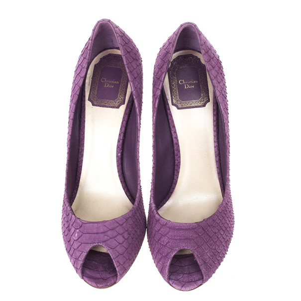 Dior Purple Python Embossed Leather 'Miss Dior' Peep Toe Pumps Size 38