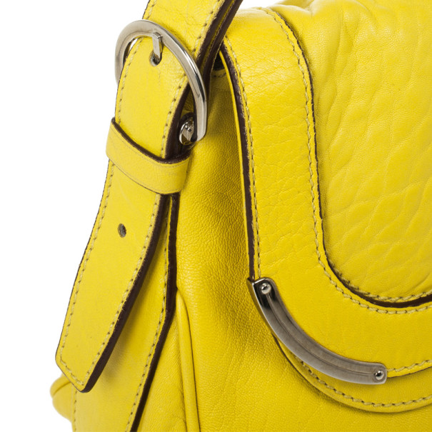 Celine Small Yellow Leather Flap Bag