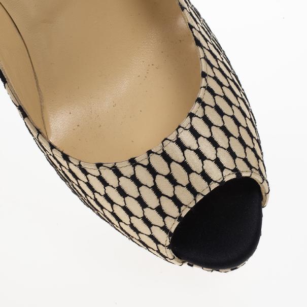 Christian Louboutin Crepe Satin 'Lady Peep' Toe Platform Pumps Size 39