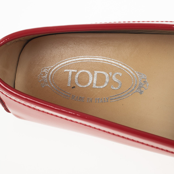Tod's Red Patent Gommino Loafers Size 39