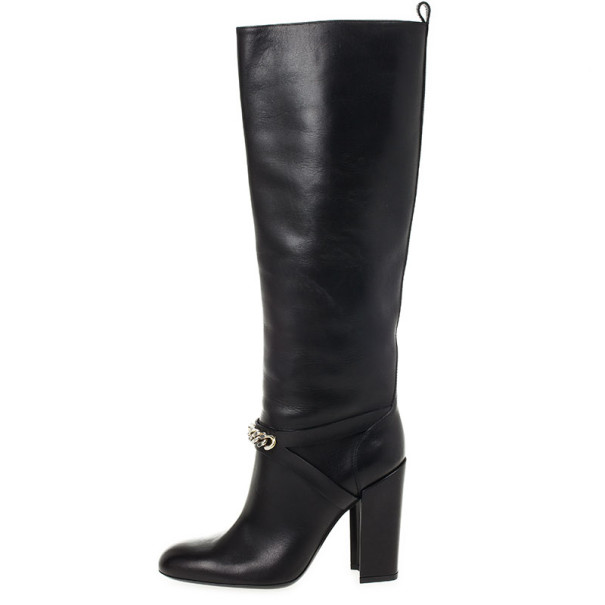 Yves Saint Laurent Black Leather 'New Chyc 105' Chain Link Knee Length Boots Size 39.5