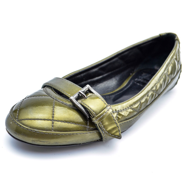 Burberry Green Metallic Quilted Ballet Flats Size 36