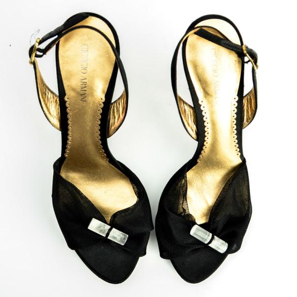 Giorgio Armani Black Mesh Slingback Sandals Size 37.5
