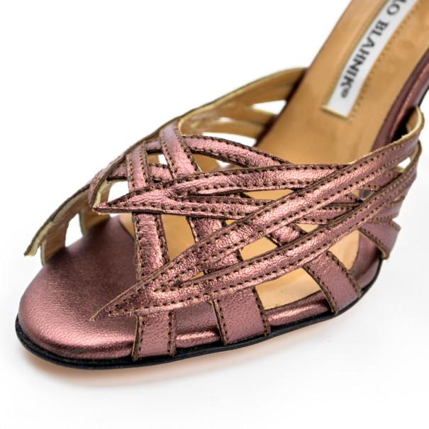 Manolo Blahnik Purple Metallic Strappy Sandals Size 36.5