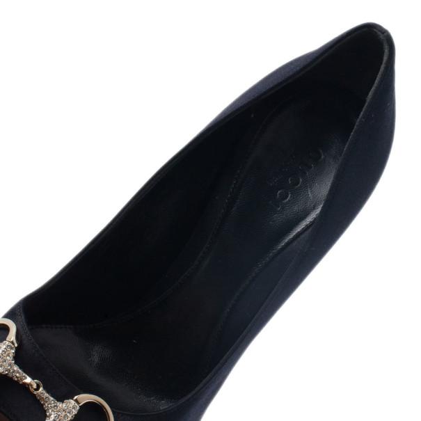 Gucci Black Satin Hollywood Horsebit Peep Toe Pumps Size 37
