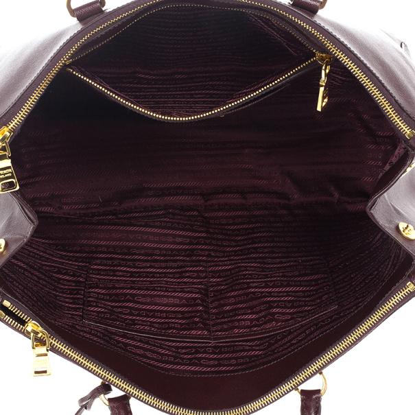 Prada Maroon Saffiano Lux Double-Zip Large Tote
