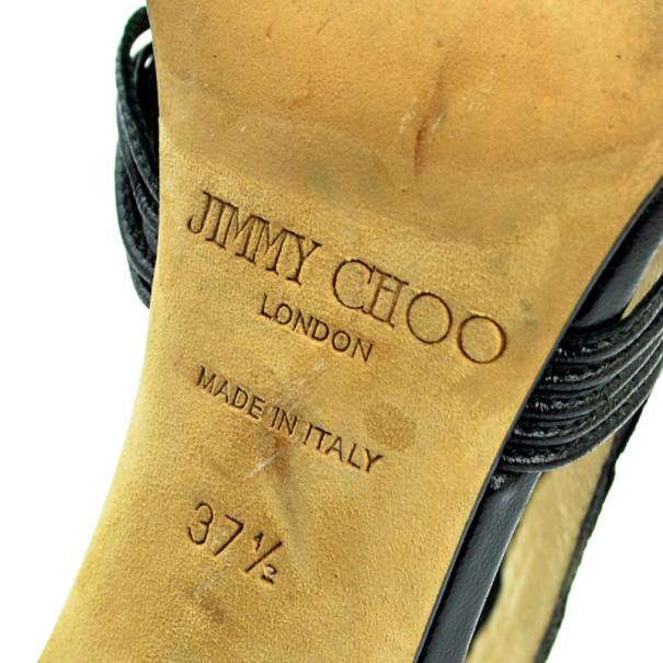 Jimmy Choo Black Python 'Corsica' Strappy Back Zip Sandals Size 37.5