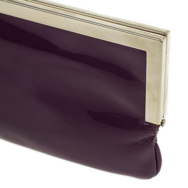 Gucci Purple Patent Framed Clutch