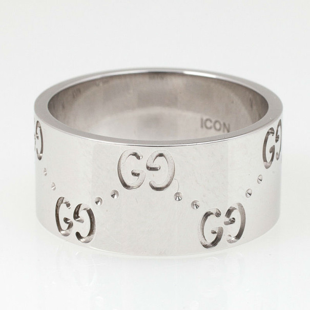 Gucci Icon White Gold Band Ring Size 52