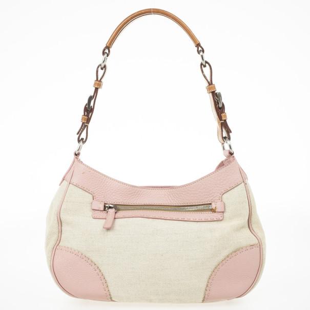 Prada Pink Trim Logo Jacquard Hobo Bag