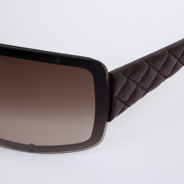 Chanel Brown Quilted Leather 4155-Q Women Shield Sunglasses