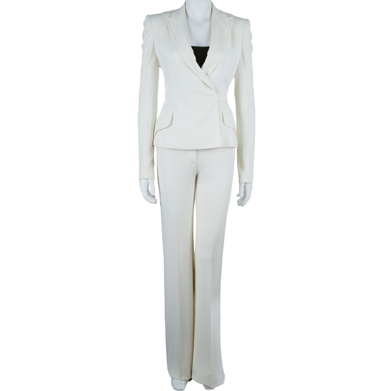 Dolce and Gabbana Off-White Striped Pant Suit S