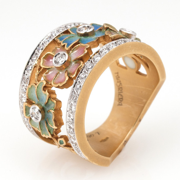 Masriera Flower Enamel Diamond Band Ring Size 52.5