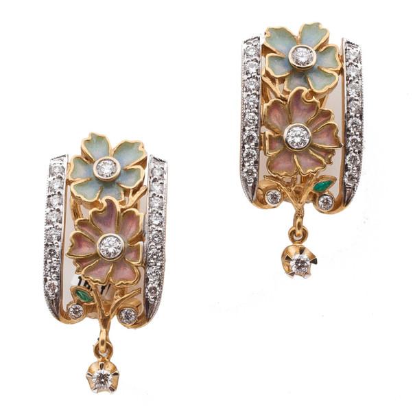 Masriera Flower Enamel Diamond Earrings