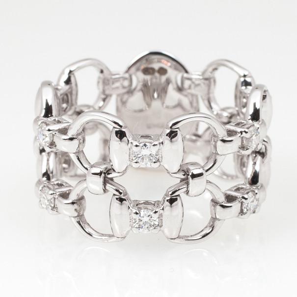 Gucci Horsebit White Gold Diamond Double Band Ring Size 55