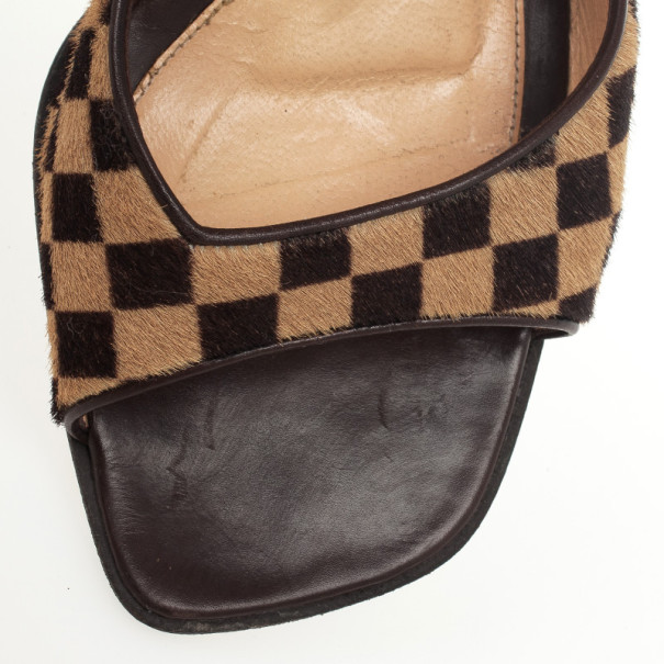 Louis Vuitton Brown Damier Sauvage Pony Hair Mules Size 38