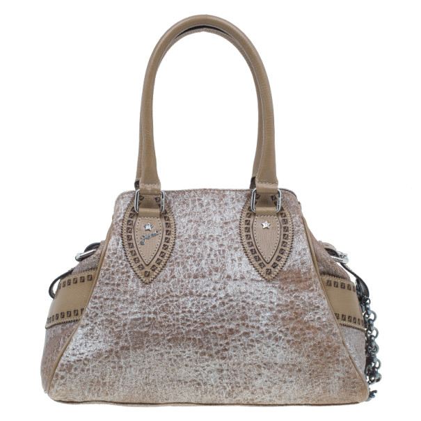Fendi Metallic Brown Leather Du Jour Tote