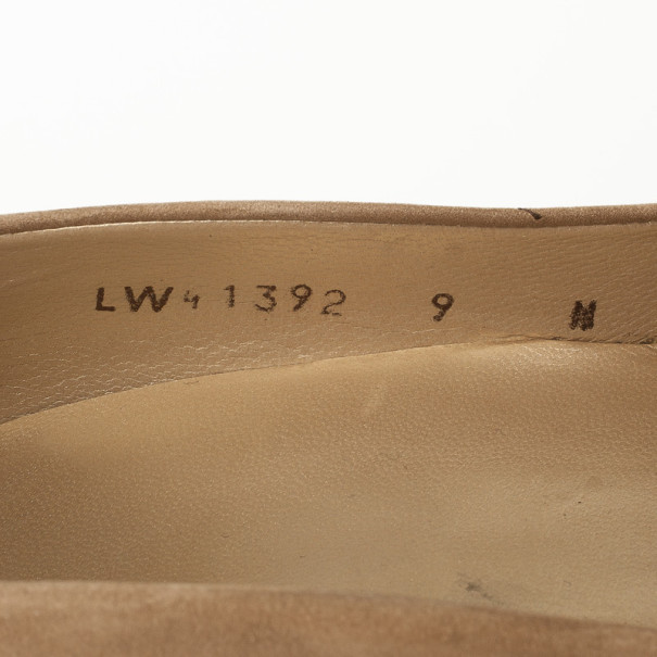 Stuart Weitzman Beige Suede Peep Toe Pumps Size 41.5