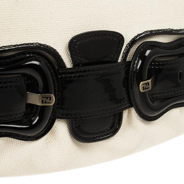 Fendi Toile Vernice Patent B Bag Black White