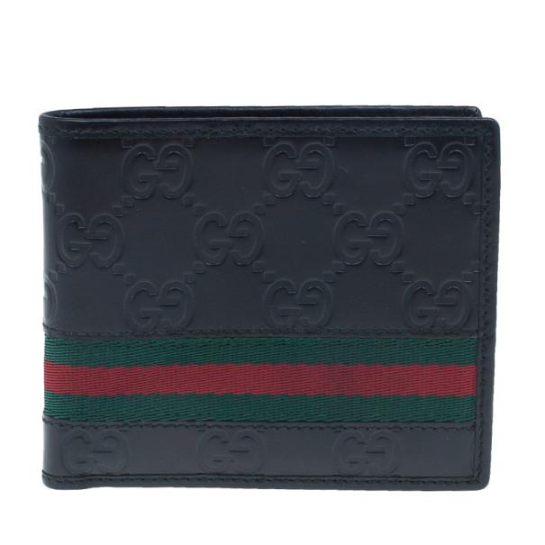 Gucci Black Leather Guccissima Web Bi-Fold Wallet