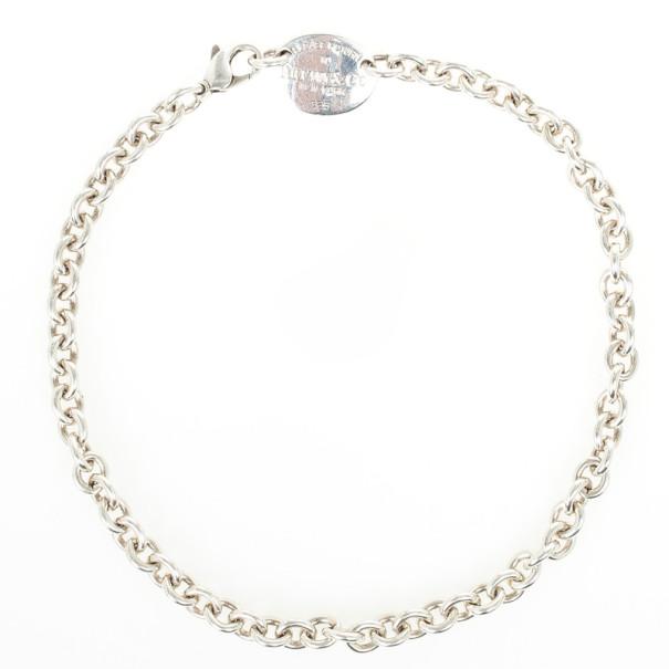 Tiffany & Co. Return to Tiffany Silver Oval Tag Necklace