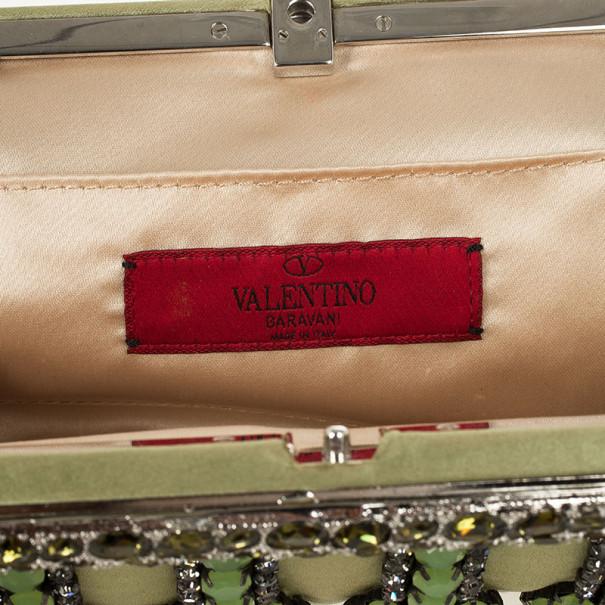 Valentino Gray Poudre Nappa Glam Framed Clutch