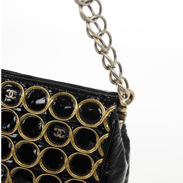 Chanel Black Patent and Gold Chain Handbag