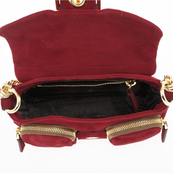 Prada Magenta Leather Shoulder Bag