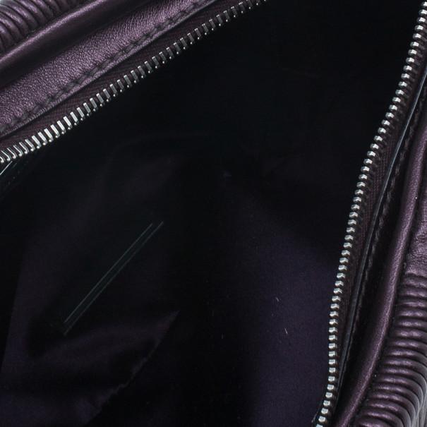 Miu Miu Metallic Eggplant Leather Clutch