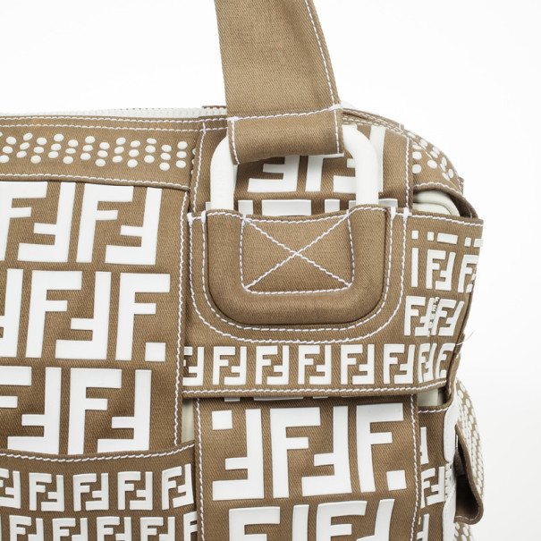 Fendi B-Mix Beige and White Tote