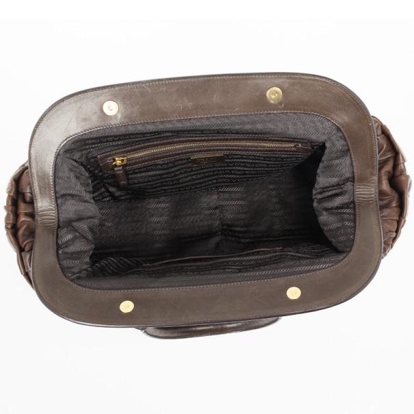 Prada Brown Leather Gaufre Bag