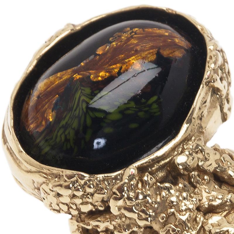 Saint Laurent Paris Arty Black And Green Gold Tone Ring Size 54.5