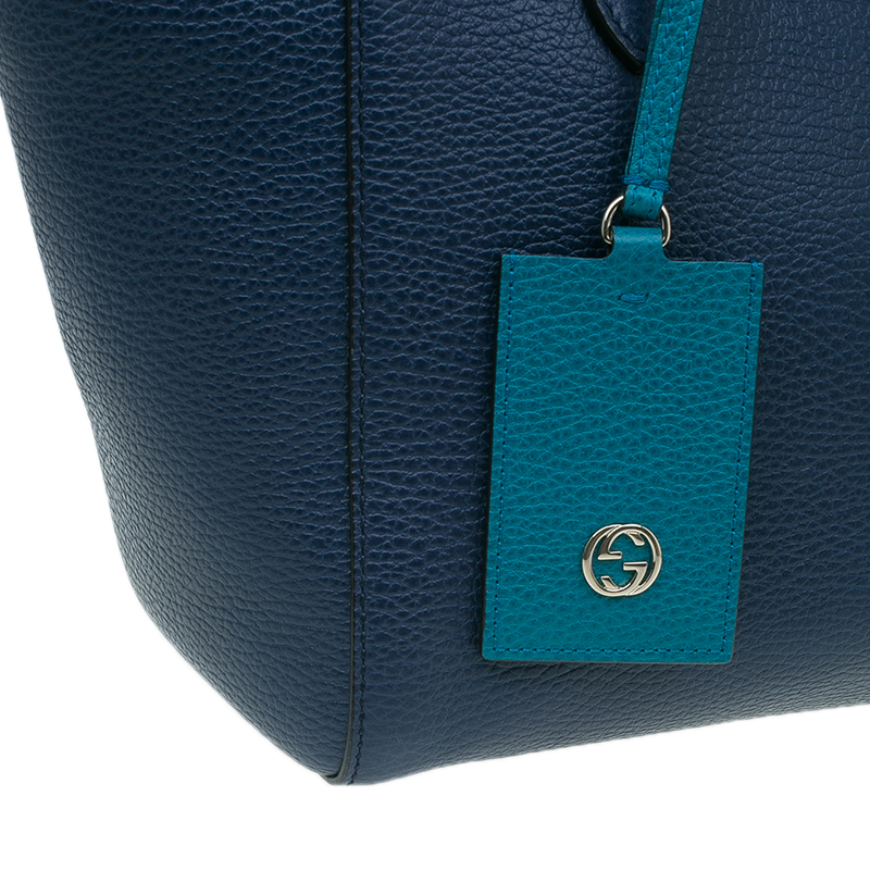 Gucci Blue Leather Small Swing Tote Bag