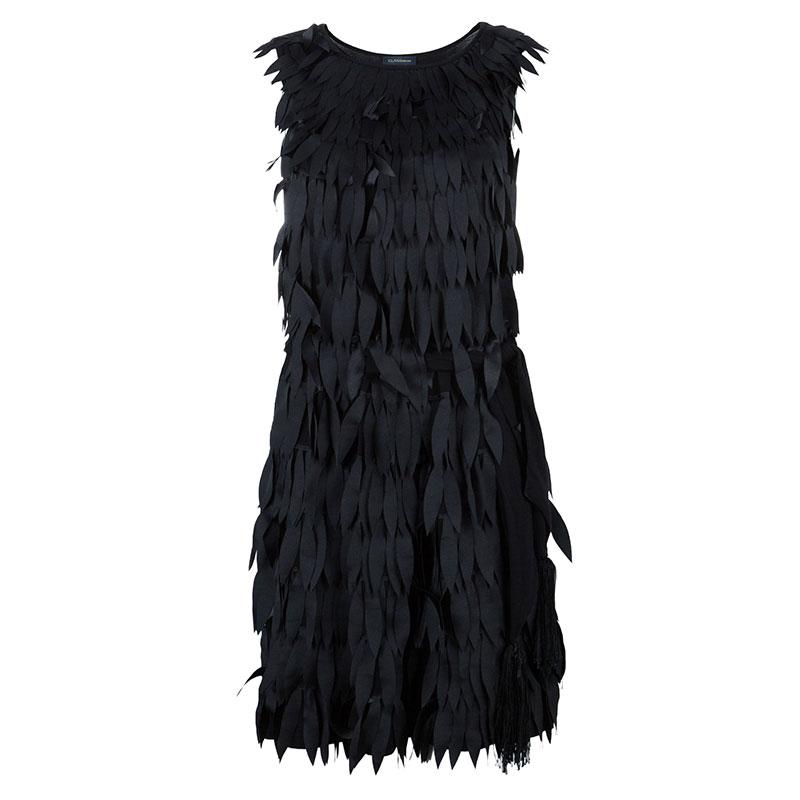 Class by Roberto Cavalli Black Feather Shift Dress M