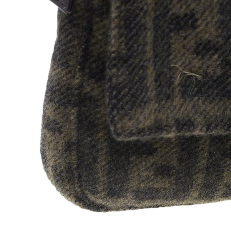 Fendi Wool Zucca Baguette Shoulder Bag