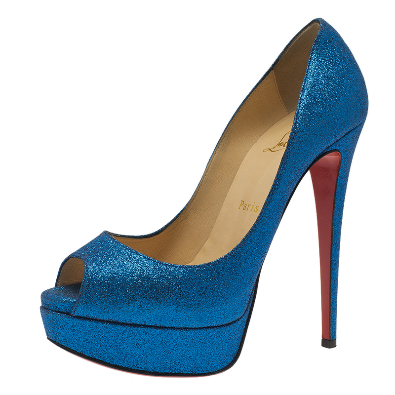 Christian Louboutin Blue Glitter Mini Lady Peep 150 Pumps Size 38