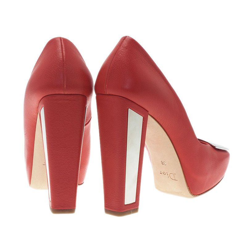 Dior Red Leather Metal Plate Block Heel Pumps Size 38