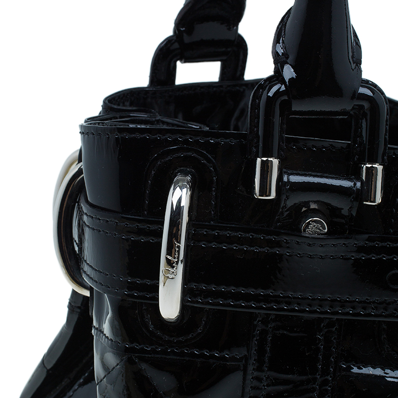 Burberry Black Patent Leather Baby Beaton Tote