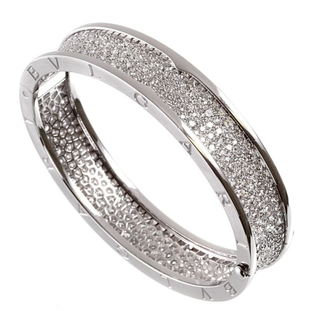 Bvlgari 18 K White Gold B.Zero1 Full Diamond Pave Bracelet