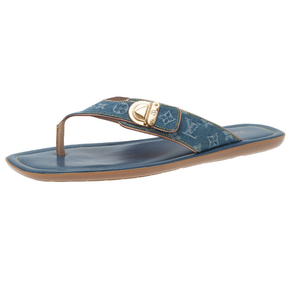 Louis Vuitton Denim Monogram Thong Sandals Size 40