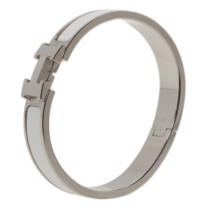 Hermes Clic Clac H White Enamel Palladium Plated Bracelet