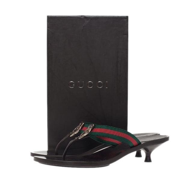 Gucci Web Detail GG Thong Sandals Size 38.5